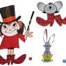 Malá Čarodějnice se zajícem MS_10 s myškou na polštáři